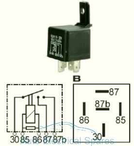160933 Double contact relay 12v 2 x 20A with resistor