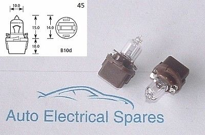 700 BROWN 12v 3W B10 HALOGEN instrument panel light bulb & holder x 2